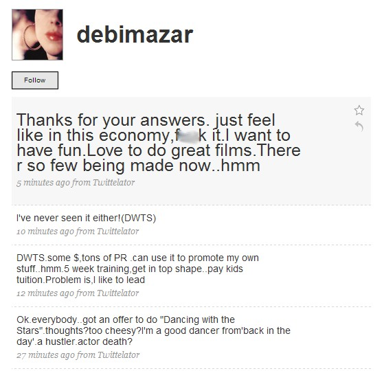Debi Mazar Twitter