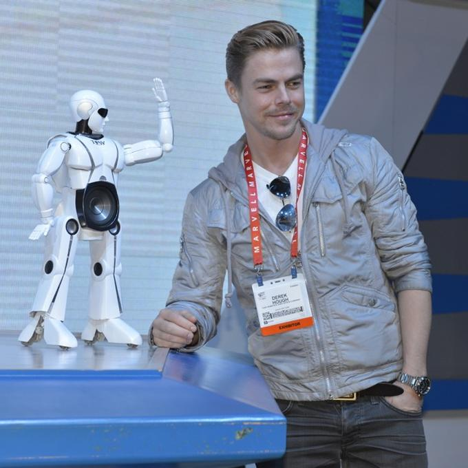 Derek Hough and mRobo at CES 2013  - Photo by Nicole T.