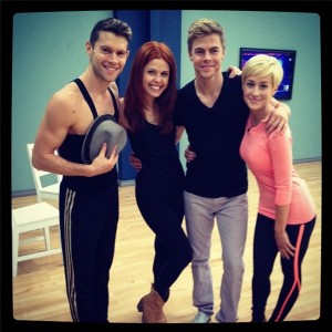 Henry Byalikov Anna Trebunskaya Derek Hough and Kellie Pickler at Rehearsal